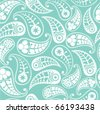 Seamless paisley texture in blue - stock vector