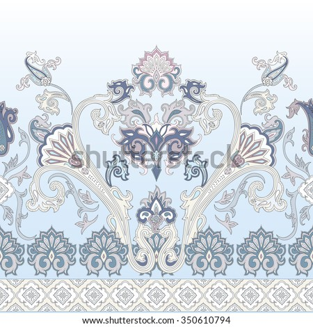 Seamless paisley vector  pattern, wrapping paper design, Decoration neckerchief, oriental neck print, floral chinese ornament, decorative border for textile, wrapping,  wallpaper. Bohemian boho design - stock vector