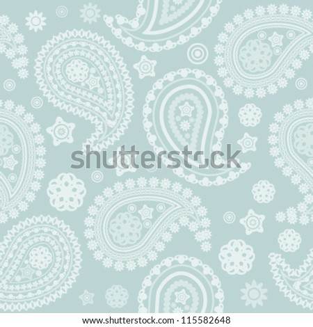 Seamless pale paisley texture - stock vector