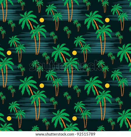 Seamless palm pattern. vector - stock vector