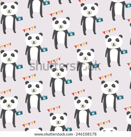Seamless panda pattern - stock vector