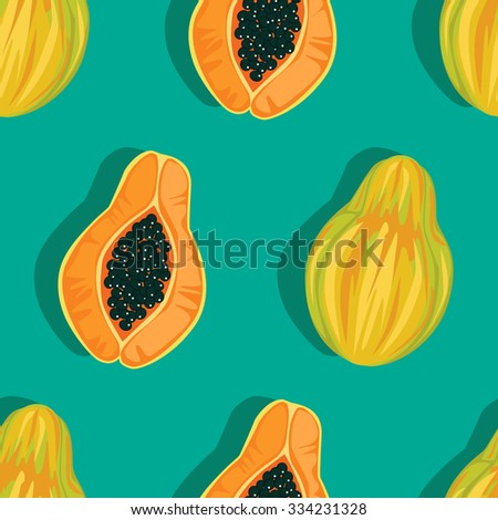 Seamless Papaya Pattern - Illustration