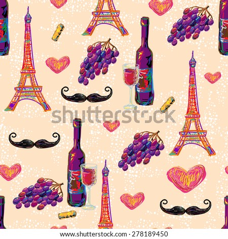 Seamless Paris romantic vector pattern with Eiffel Tower, mustache, wine glass, grapes, bottle of wine and love hearts. Perfect for wallpapers, web page background, surface textures, textile - stock vector