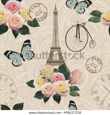 Seamless Paris travel wallpaper.Vintage background.