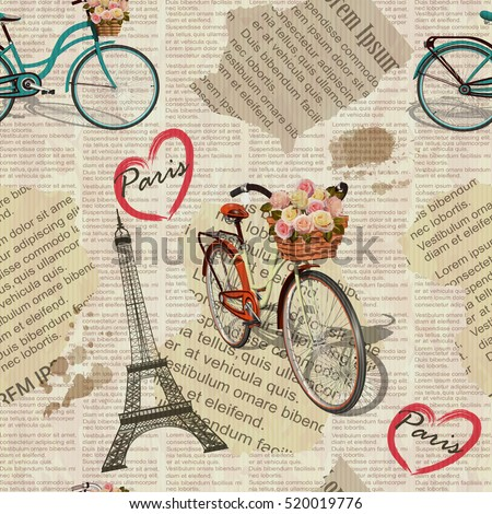 Seamless Paris Vintage Newspaper Background Stock Vector 520019776