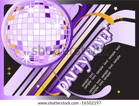 Seamless Party Banner with Disco Ball. Vector Template. For more illustrations VISIT MY GALLERY. - stock vector