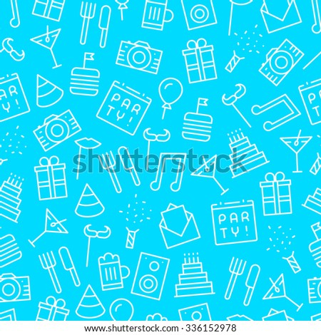 Seamless party blue background pattern with outline icons