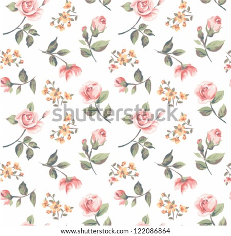 seamless pastel color vintage tiny flower pattern background - stock vector