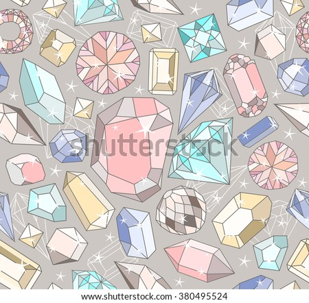 Seamless pastel diamonds pattern. Background with colorful gemstones. - stock vector
