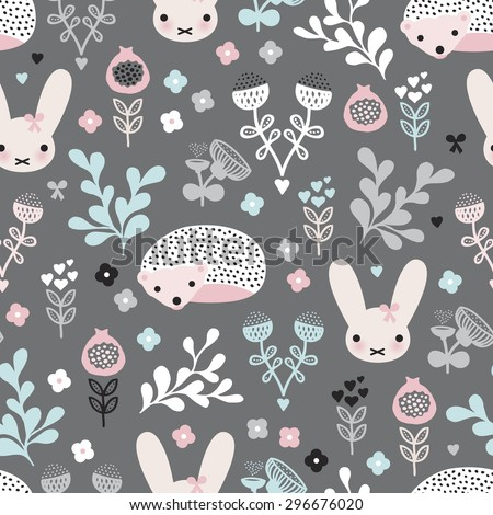 Seamless pastel girls spring hedgehog bunny and flower blossom garden illustration background pattern in vector - stock vector