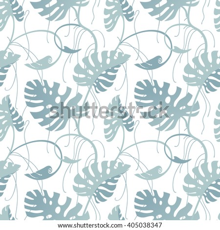 Seamless pastel pattern with monstera branches. Tropical floral background.
