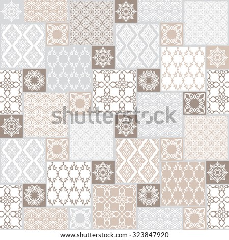 Seamless patchwork background. Oriental ornament motifs. Pastel colors ornaments.Vector illustration - stock vector