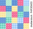 Seamless patchwork bright pattern. Vector background. - stock vector
