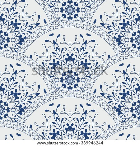 Seamless patchwork pattern frame of trendy colored floral flower tile circles. For wallpaper, surface textures, fabric textile swatch. Indian Islam mexican ethnic round style. White indigo blue vector - stock vector