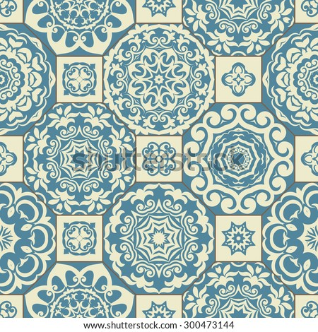 Seamless patchwork pattern from blue and beige Moroccan tiles, ornaments. Can be used for wallpaper, pattern fills, surface textures, textile, cover etc. - stock vector