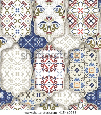 Seamless patchwork pattern from CLASSIC  blue--red-orange-white style Moroccan tiles, ornaments. Can be used for wallpaper, surface textures, textile, cover etc. - stock vector