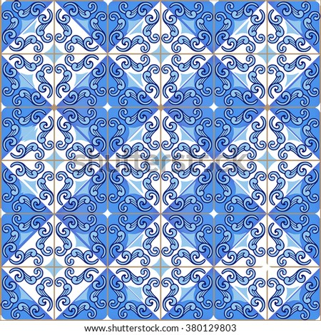 Seamless patchwork pattern from Moroccan ,Portuguese tiles in blue colors. Decorative ornament can be used for wallpaper, backdrop, fabric, textile, wrapping paper.