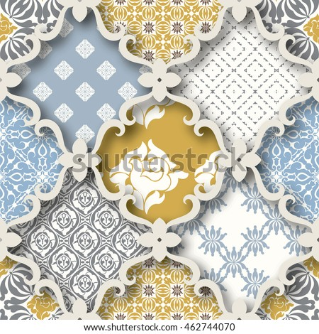 Seamless patchwork pattern from PASTEL blue-orange-white style Moroccan tiles, ornaments. Can be used for wallpaper, surface textures, textile, cover etc. Large pattern