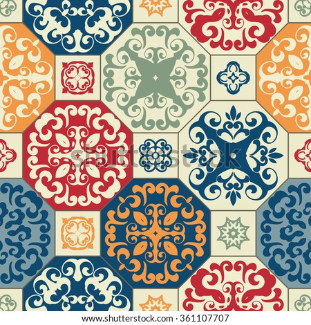 Seamless patchwork pattern from RETRO blue-orange-red-beige style Moroccan tiles, ornaments. Can be used for wallpaper, surface textures, cover etc.