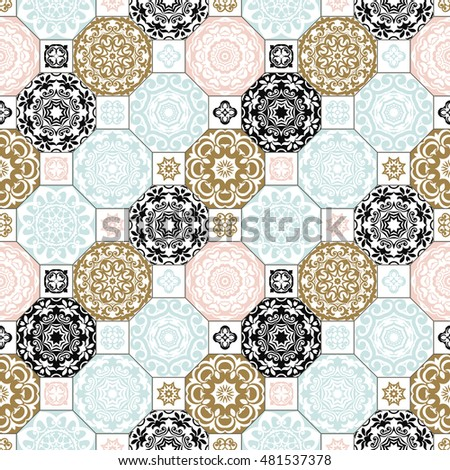 Seamless patchwork pattern from Trendy  BLUE - PINK - WHITE - BLACK - Browne style Moroccan tiles, ornaments. Can be used for wallpaper, surface textures, cover etc.