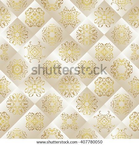 Seamless patchwork pattern. Vintage texture with tiles. Retro design. Silver&gold design