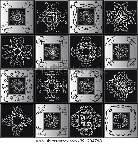 Seamless patchwork pattern. Vintage textures with tiles. Retro style. Black&white luxury design