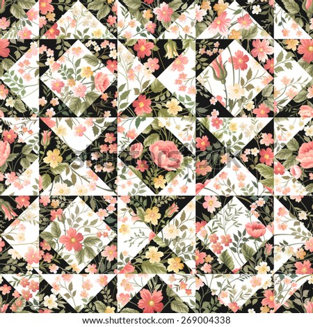 seamless patchwork pattern with flowers