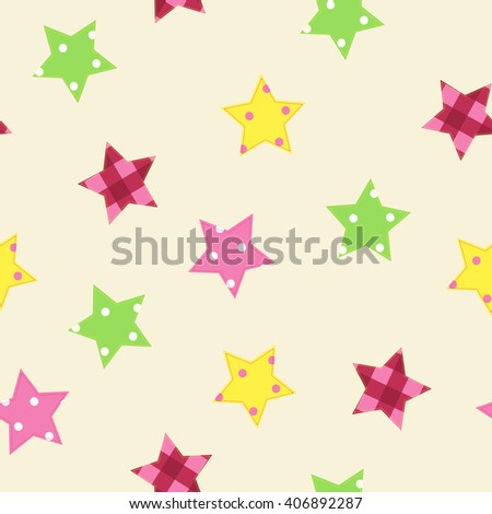 Seamless patchwork pattern with stitched stars. Quilting imitation.