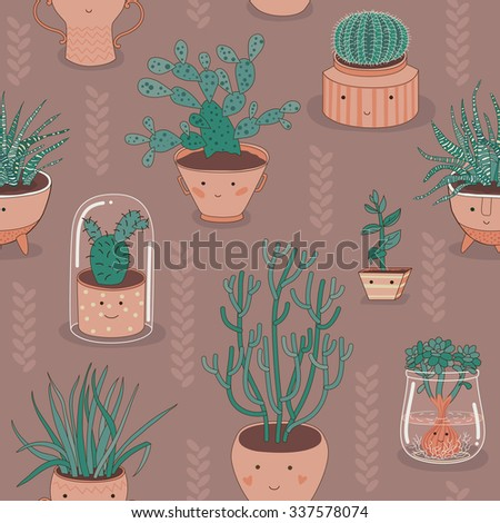 Seamless Patten With Cactus And Succulent Plants - stock vector