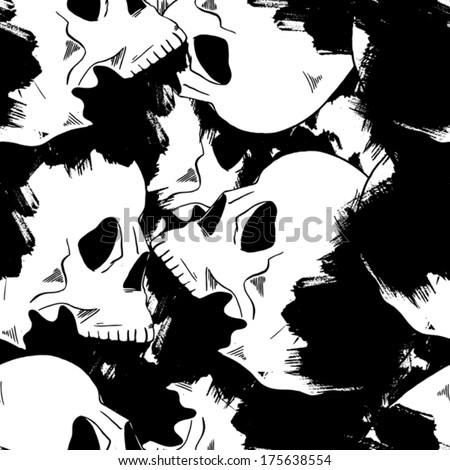 seamless patterm with vector sketch tattoo skull - stock vector