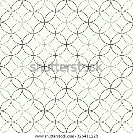 Seamless pattern. Abstract geometrical background. Modern stylish texture. Regularly repeating elegant ornament with intersecting outline circles and rhombuses. Vector element of graphical design - stock vector