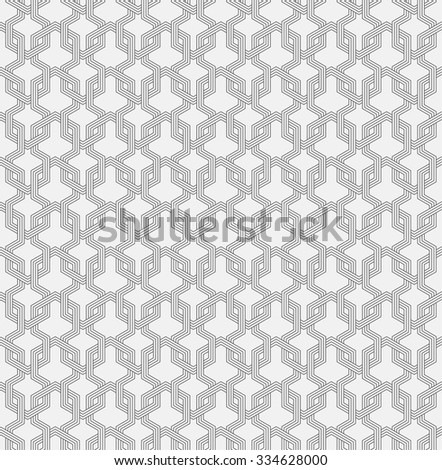 Seamless pattern. Abstract geometrical background. Modern stylish texture. Regularly repeating simple elegant ornament with intersecting hexagons. Vector element of graphical design - stock vector
