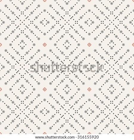 Seamless pattern. Abstract geometrical textured background. Modern stylish texture with repeating small dots, circles, dotted rhombuses. Vector element of graphical design - stock vector