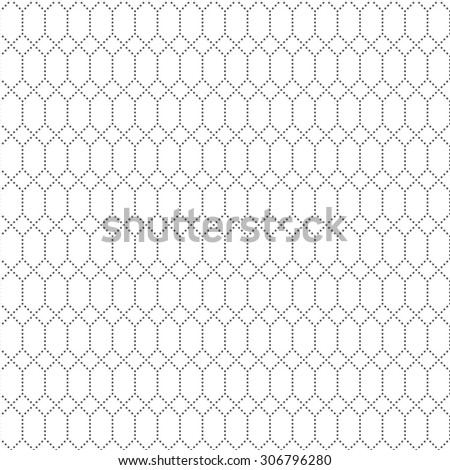 Seamless pattern. Abstract geometrical textured background. Simple texture with regularly repeating dotted hexagons and rhombuses. Vector element of graphical design - stock vector