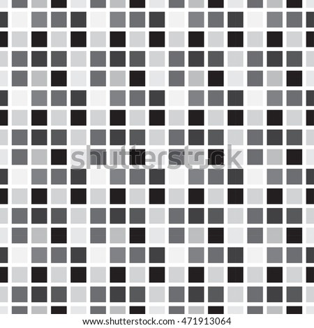 Seamless pattern abstract square pixel mosaic tile background; white, gray, black colors