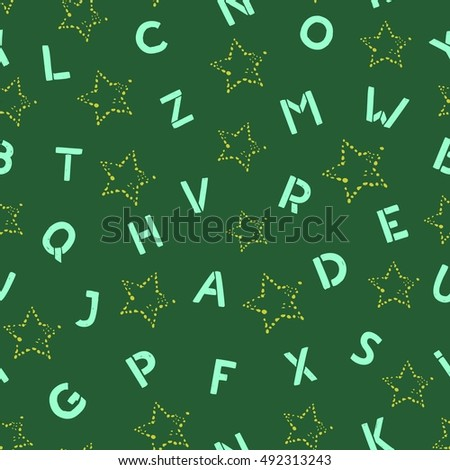 Seamless pattern. Abstract stars and letters