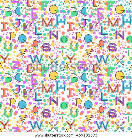 Seamless pattern alphabet background in bright colors. Vector illustration with randomly distributed English letters. Seamless pattern can be used for wallpaper, textiles, prints, fabric, gift wrap