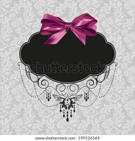 seamless pattern and purple bow tag - stock vector