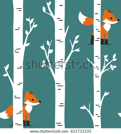 Seamless pattern. Animal Nursery Art. Woodland Nursery Template. Baby Animals Room Decor. Forest Animal Prints. Fox with birch trees and leaves design.