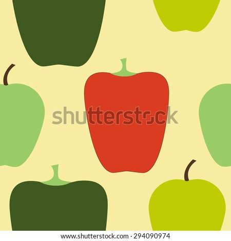 Seamless pattern - apple and sweet peppers for fabric or paper for scrapbooking and tissue. background for web design. - stock vector