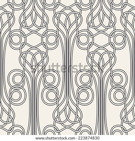 Seamless pattern Art Nouveau. Jugendstil. Modern background with plexus of linear elements. Vector illustration.  - stock vector