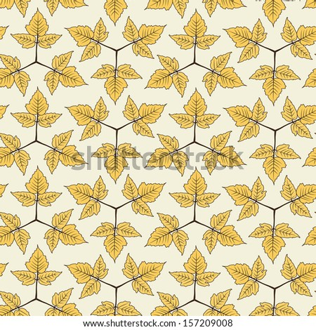 seamless pattern  autumn leaves,  linear - stock vector