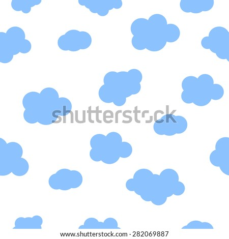 Seamless pattern baby background with clouds. Vector illustration