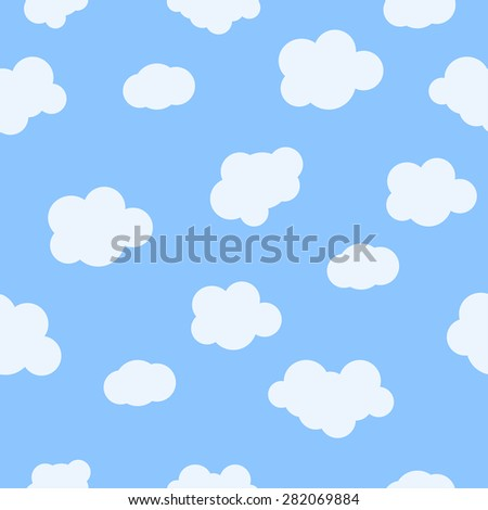 Seamless pattern baby background with clouds. Vector illustration seamless pattern white couds, cartoon clouds seamless pattern. Seamless pattern blue spring clouds. Summer seamless pattern clouds.