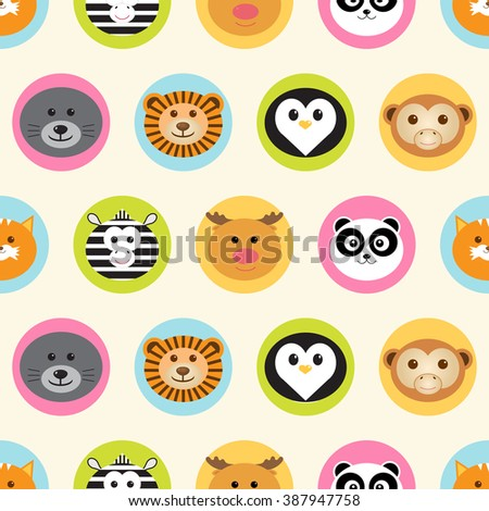 Seamless pattern. Baby background with cute round animals - fox, reindeer, panda, zebra, penguin, lion, monkey and navy seal - in colorful circles. Paper for scrapbook or background. - stock vector
