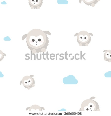 Seamless pattern, baby sheep