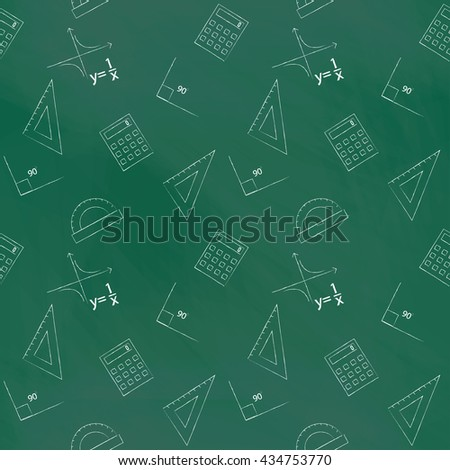 Seamless pattern back to school. Vector green blackboard written with white chalk schedule, formula, line, triangle, calculator, protractor and angle. Design elements for the design of school manuals