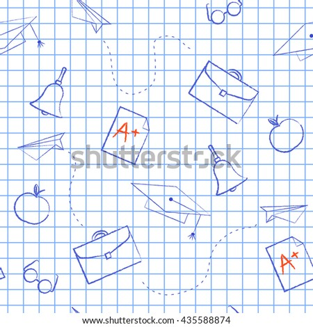 Seamless pattern back to school. Vector White sheet blue squared writing ink cap, hat, bag, apple, Paper Airplane, rating A. School background for design covers notebooks and textbooks