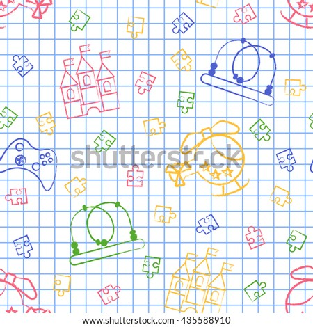 Seamless pattern back to school. Vector White sheet blue squared writing ink Hand-drawn style. Seamless wallpaper with the image of Helicopter, puzzle, a maze, a castle, a joystick