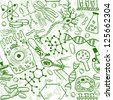 Seamless pattern background - illustration of biology drawings, doodle style - stock vector